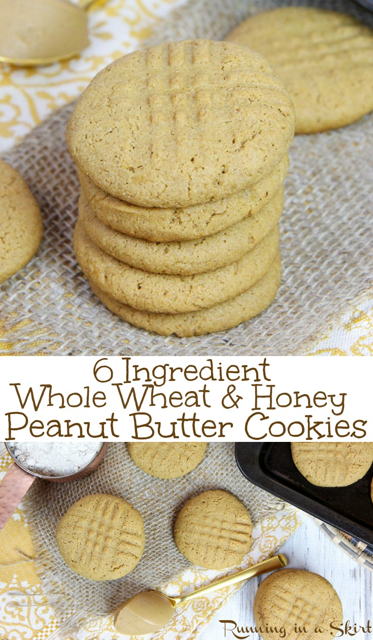 6 Ingredient Healthy Peanut Butter Cookies recipe - No sugar, no oil, whole wheat flour & clean eating... sweetened with a touch of honey! These easy, quick snack ideas are the best soft cookies AND they taste AMAZING! / Running in a Skirt #recipe #healthy #cookie #baking #peanutbutter #cleaneating via @juliewunder