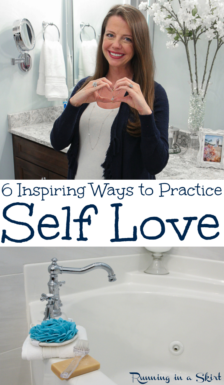6 Inspiring Self Care Habits to Practice Self Love - tips, inspiration and activities for a healthy life.  Includes motivation for positivity, beauty and happiness by adding a few habits to your week! / Running in a Skirt #selflove #selfcare #motivation #healthyliving #inspiration #healthy #happiness