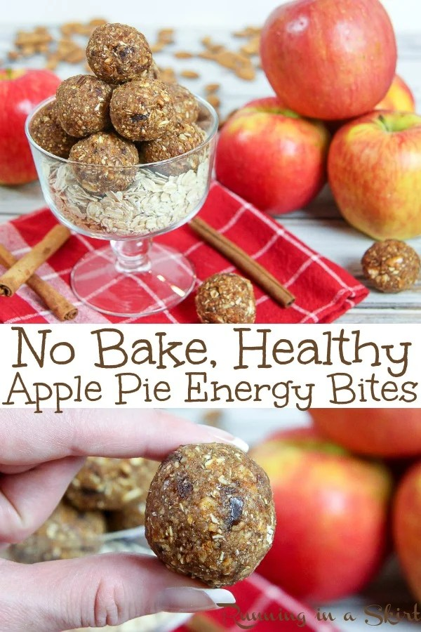 Healthy No Bake Apple Pie Energy Bites recipe - these apple pie bites are easy simple and made with real apples for the perfect fall treats!  Great for healthy snacks, breakfast or desserts. Perfect for vegans, vegetarian and with gluten free option.  #vegan #healthy #apple #recipe #applepie #energybites #nobake #vegetarian #snack #fall / Running in a Skirt