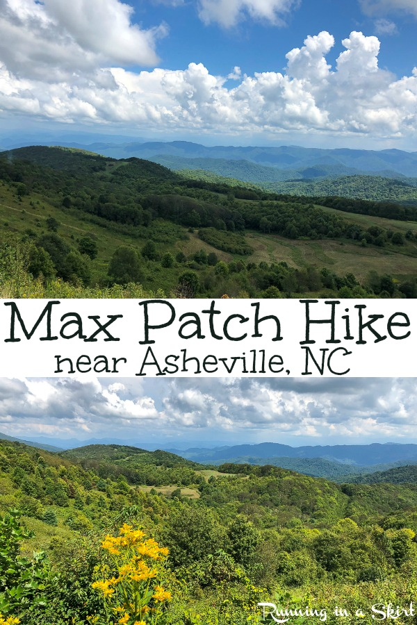 Max Patch Hike - gorgeous mountain hike along the Appalachian Trail (North Carolina) near Hot Springs and Asheville NC.  Perfect for photography, picnics, sunset pictures, and a beautiful sunrise. If you are looking for beautiful Asheville hiking... this is it! / Running in a Skirt #asheville #hiking #outdoors #wnc via @juliewunder