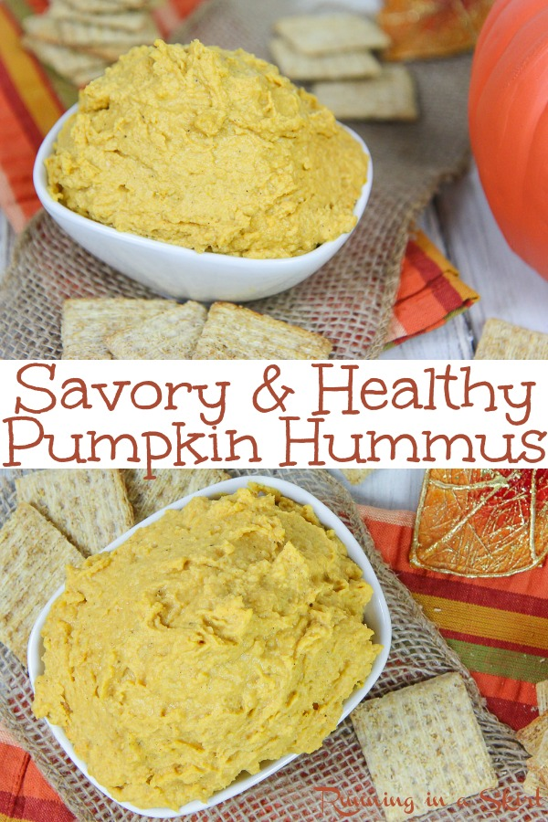 Savory Healthy Pumpkin Hummus recipe - an easy vegan dip that is also great as an appetizer or on a sandwich.  Uses chickpeas and tahini- perfect for Fall! / Running in a Skirt #hummus #fall #vegan #plantbased #healthy #cleaneating #recipe #dairyfree