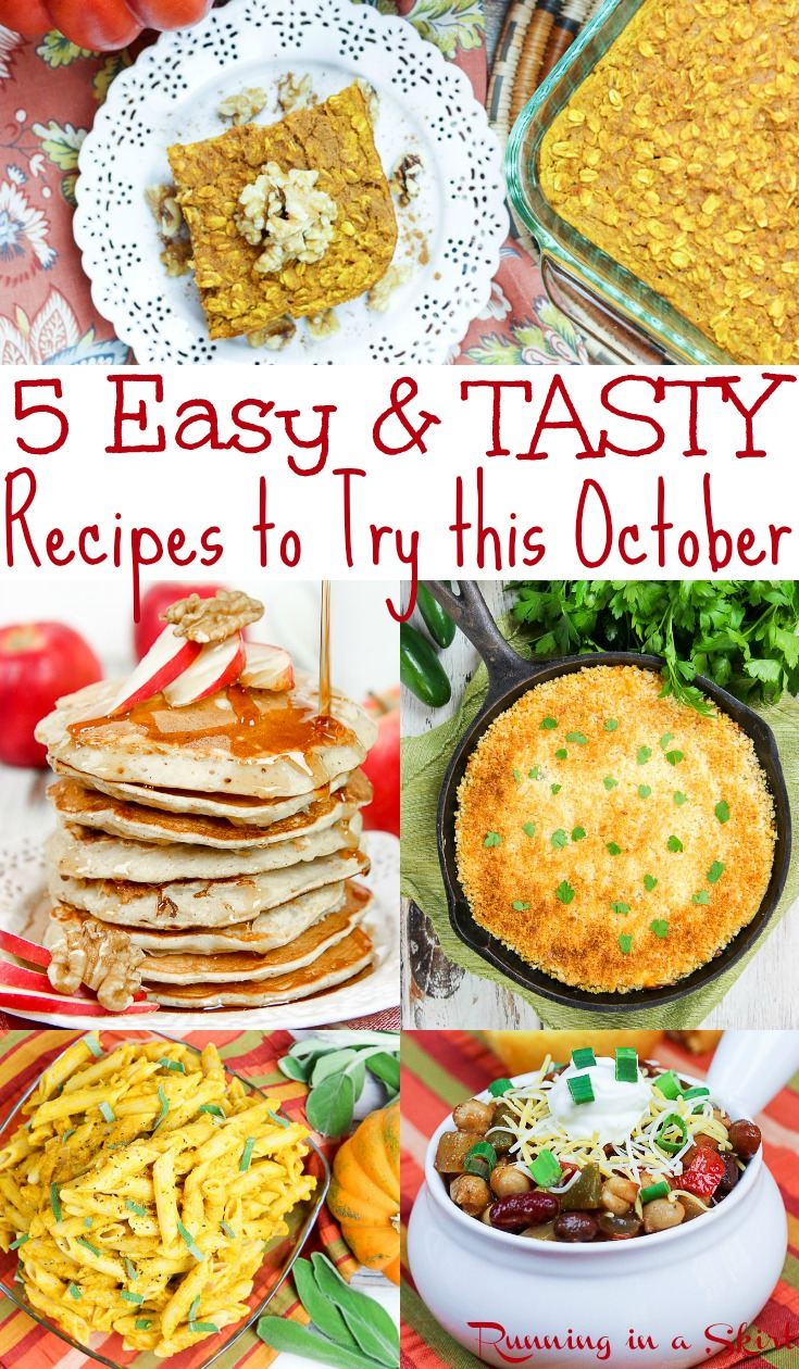 5 Easy & Tasty October Recipes - These healthy vegetarian fall recipes include dinners, soup, breakfast and desserts...  some made in the crockpot or slow cooker.  The best clean eating comfort foods for the season.  Includes pumpkin and apple recipe ideas. / Running in a Skirt #recipe #healthy #pumpkin #apple #fall via @juliewunder