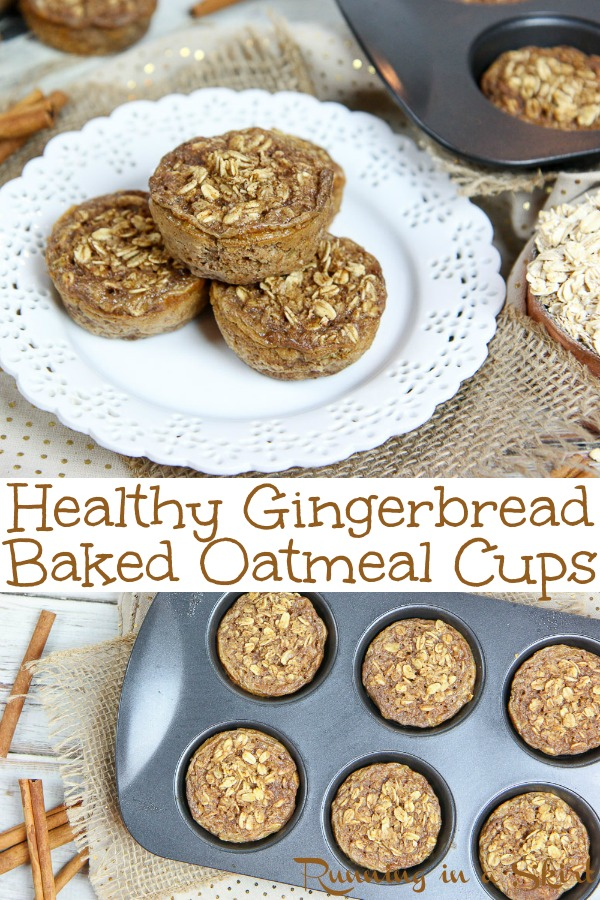 Gingerbread Healthy Baked Oatmeal Cups recipe - the best holiday breakfast muffins! An easy, tasty and clean portable breakfast. Vegetarian / Running in a Skirt #oatmeal #vegetarian #gingerbread #christmas #holiday #healthy #cleaneating #breakfast #recipe via @juliewunder