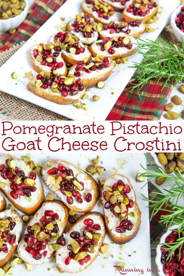 The Best Pomegranate Crostini recipe - Pomegranate Pistachio Crostini with goat cheese and honey.  An easy and simple idea with only 5 ingredients - the perfect holiday, Thanksgiving or Christmas appetizer for parties.  Vegetarian & Healthy! / Running in a Skirt #vegetarian #recipe #healthy #christmas #party #appetizer #pomegranate #pistachio  via @juliewunder
