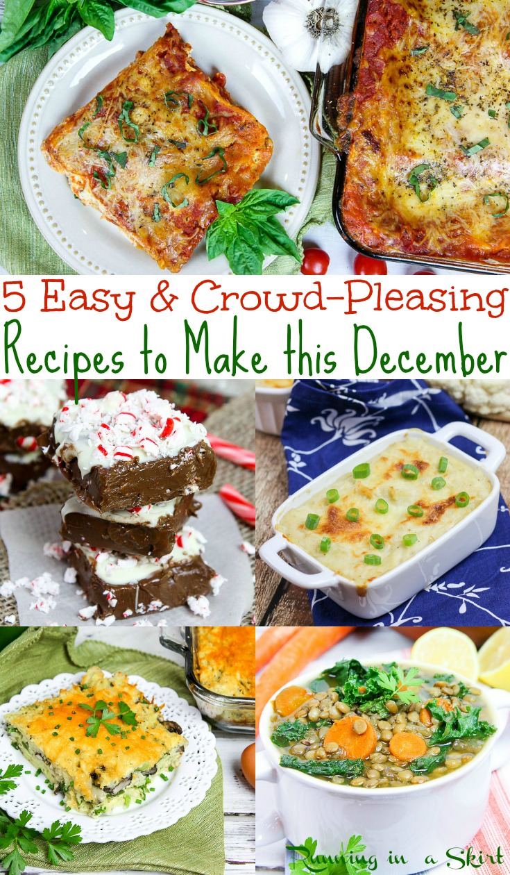 5 Easy & Healthy December Recipes - includes dinner, desserts and ideas for a crowd or families. All simple, vegetarian and perfect for meal planning on a budget.  Running in a Skirt #recipe #healthyliving #vegetarian #holiday #christmas #mealplanning #family via @juliewunder