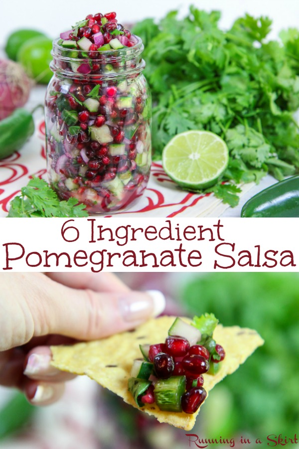 6 Ingredient Healthy Pomegranate Salsa recipe - the perfect winter salsa for the holidays, Thanksgiving or Christmas.  With cucumber and cilantro for a festive red and green pomegranate appetizer.  Vegan, vegetarian and gluten free. / Running in a Skirt #vegan #vegetarian #christmas #recipe #salsa #healthy #glutenfree #pomegranate #holiday     via @juliewunder