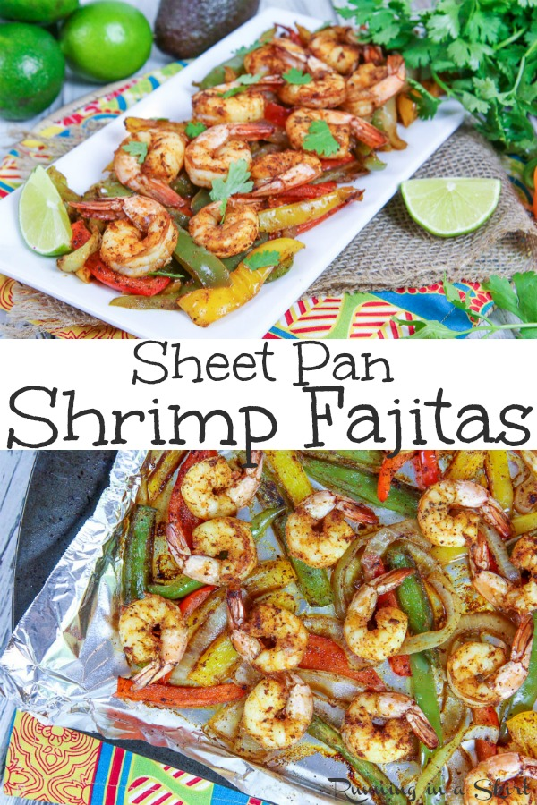 20 Minute Easy Sheet Pan Shrimp Fajitas recipe - a fast and healthy one pan meal. Has the best Mexican seasoning and then baked in the oven... use foil for no clean up. Clean eating, whole 30, paleo, gluten free. / Running in a Skirt #cleaneating #mexican #whole30 #paleo #glutenfree via @juliewunder