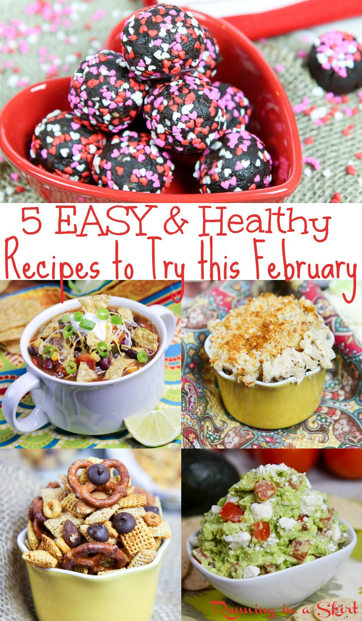 5 Easy & Healthy February Recipes - includes healthy comfort foods, easy dinners and healthy snacks for meal planning.  All vegetarian and plant based.  Great for singles, for kids or families. / Running in a Skirt #recipe #mealplanning #vegetarian #plantbased #healthyliving #healthy #superbowl #comfortfoods #valentinesday via @juliewunder