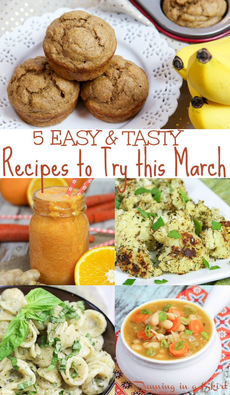 5 Easy & Tasty March Recipes - clean eating ideas for cooking and meal ideas.  Start your vegetarian meal planning here! Includes immune boosting smoothie, low carb sides, fast dinner ideas and healthy baking.  / Running in a Skirt #mealplanning #healthy #healthyliving #vegetarian #vegan #dinner #plantbased #recipe  via @juliewunder