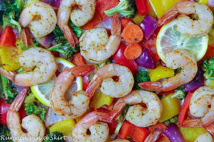 Closeup of shrimp and veggies.