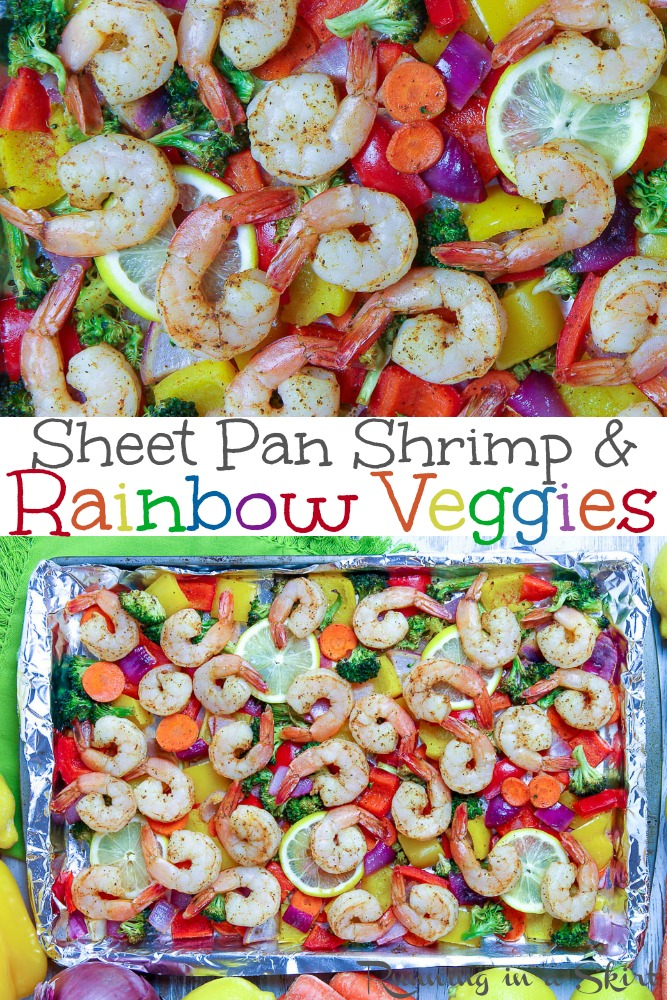 Sheet Pan Shrimp and Vegetables recipe pinterest collage.