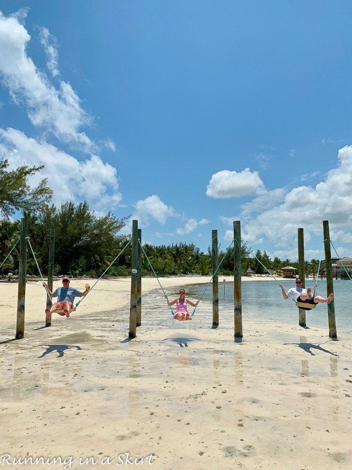 What to do in Hope Town Bahamas - ride swings at Pete's Pub.