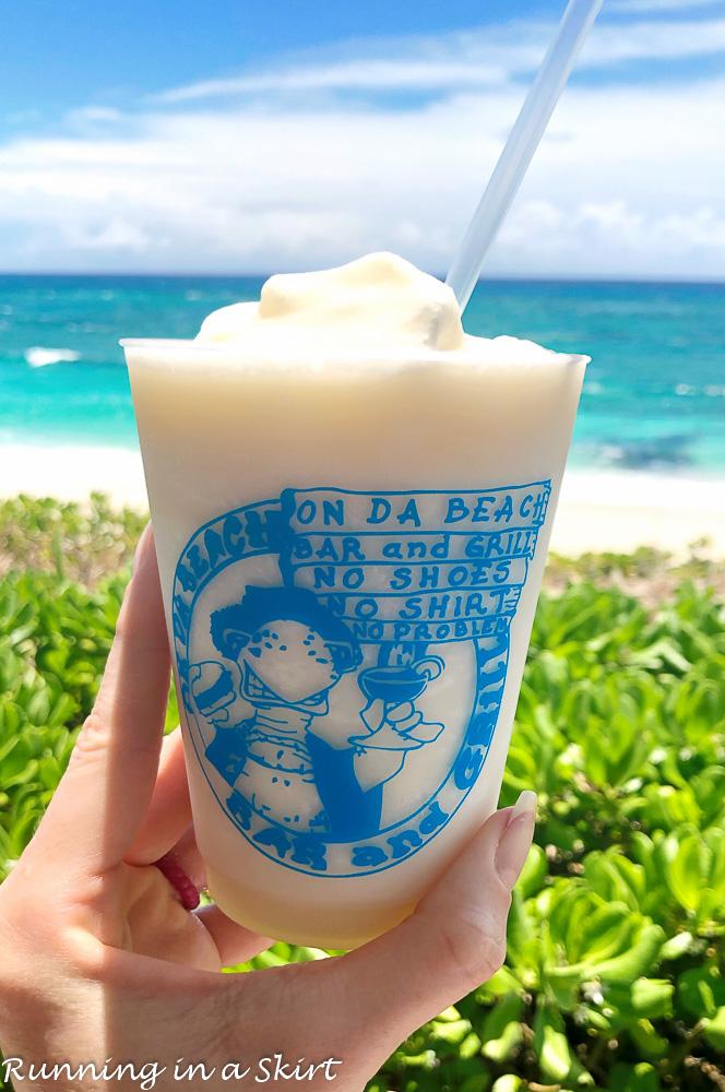On da Beach Bar and Grill pina colada.