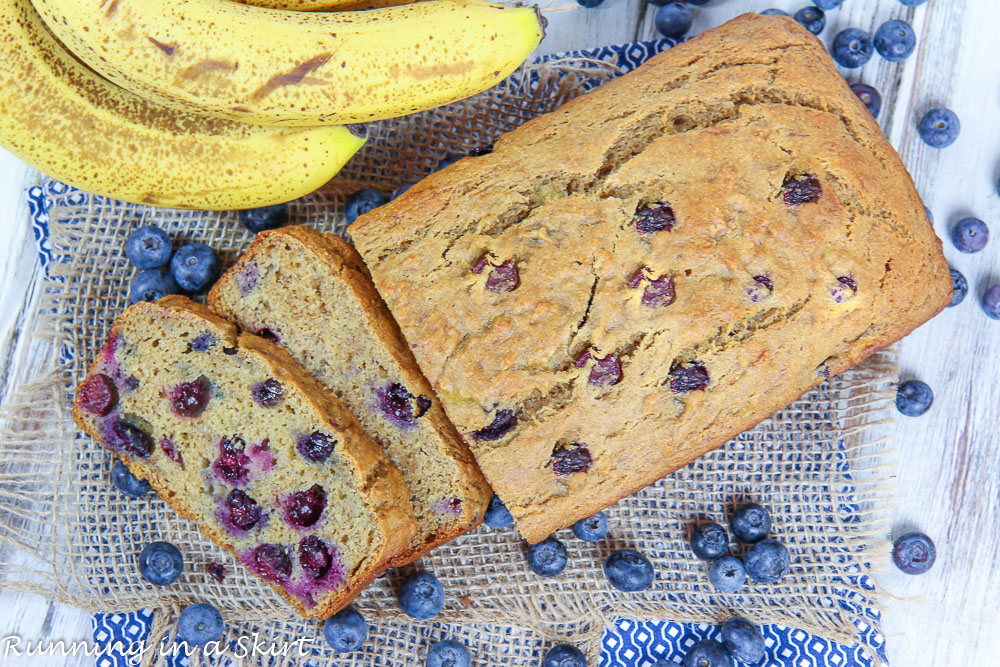 Healthy Blueberry Banana Bread recipe