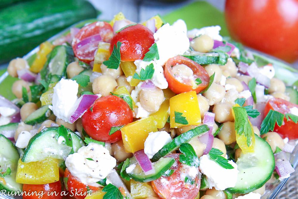 mediterranean chickpea salad with feta