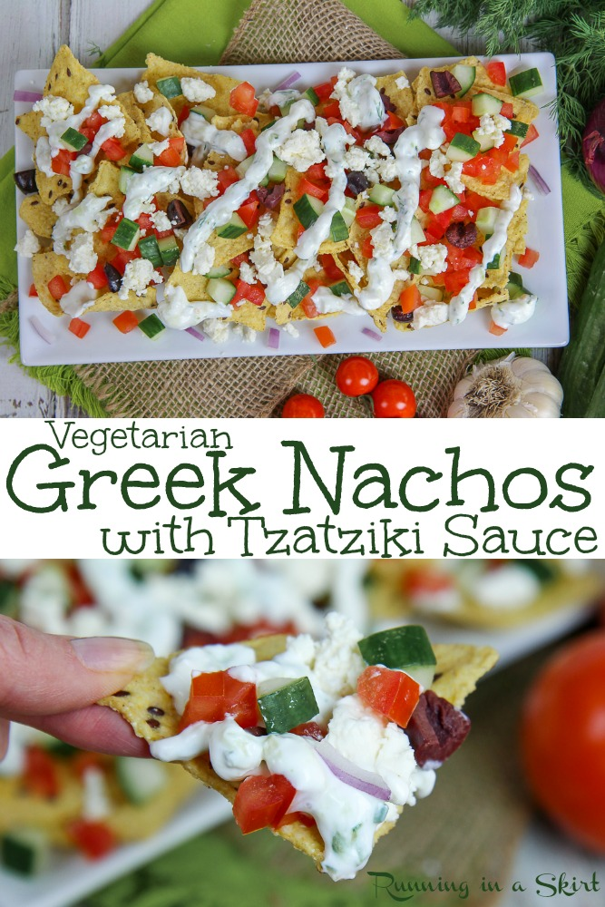 Vegetarian Greek Nachos recipe with Tzatziki Sauce - healthy, easy & delish!  Topped with simple veggies & feta.  Make with tortilla chips on a sheet pan.  / Running in a Skirt #recipe #healthy #healthyliving #vegetarian #nachos #tzatziki #greek via @juliewunder