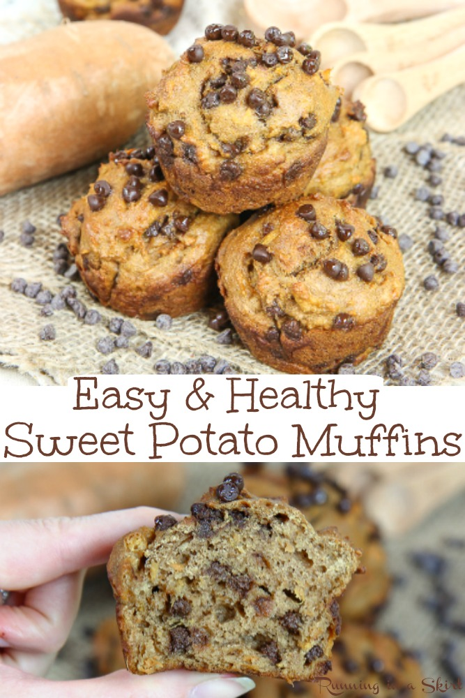 Sweet Potato Chocolate Chip Muffins recipe - Easy, Simple & Healthy! The best muffin recipe for breakfast, snacks or dessert. Naturally sweetened with honey and applesauce- no added refined sugar. So moist and good! / Running in a Skirt #healthy #recipe #muffins #baking #chocolatechips #sweetpotato #fall #fallfood via @juliewunder