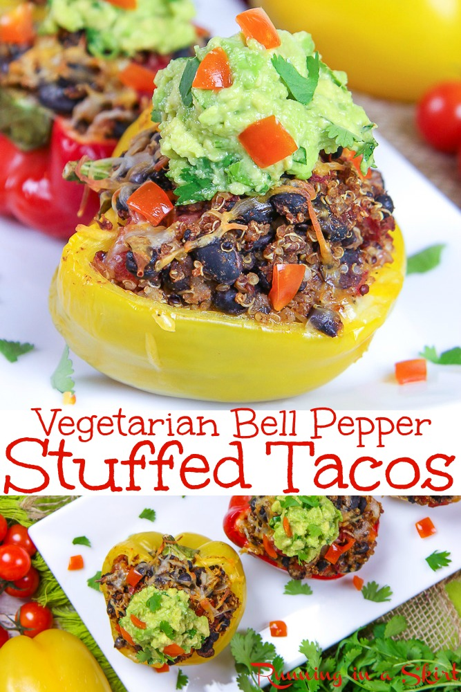Vegetarian Stuffed Bell Pepper Tacos recipe - healthy with black beans, quinoa and tomatoes. Optional cheese so dairy free and vegan friendly. Mexican style easy dinners! / Running in a Skirt #vegetarian #vegan #lowcarb #glutenfree #recipe #mexican #taco #tacotuesday #meatless #meatlessmonday via @juliewunder