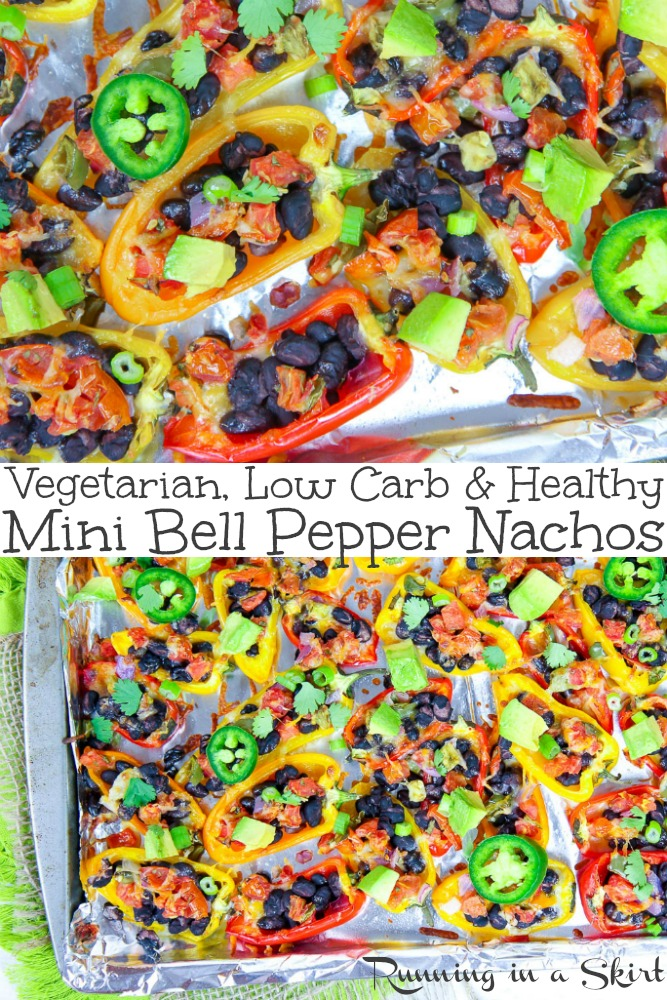 Vegetarian Mini Bell Pepper Nachos recipe - healthy, low carb and gluten free.  Easy version with black beans and cheese OR a vegan/ dairy free option.  21 day fix friendly. / Running in a Skirt #vegetarian #vegan #recipe #nachos #healthy #lowcarb #glutenfree #21dayfix via @juliewunder
