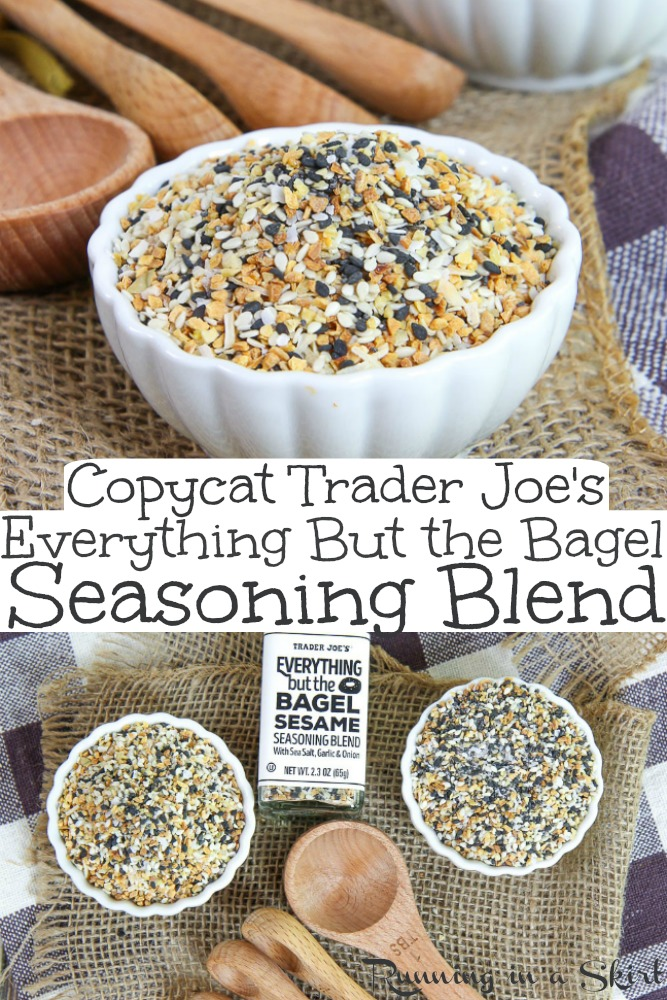 DIY Copycat Trader Joe's Everything But the Bagel Seasoning blend recipe. This homemade version includes the ingredients and ideas / uses to make recipes at home! The perfect dupe. / Running in a Skirt #everythingbagel #traderjoes #everythingbagelseasoning #recipe #healthy #healthyliving via @juliewunder