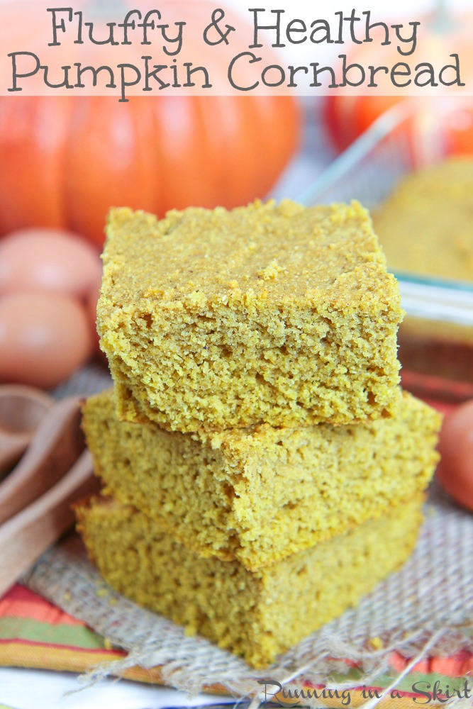 Healthy Pumpkin Cornbread recipe - so moist and fluffy! Sweetened with honey. Easy, delish and perfect for Thanksgiving or any fall meal. / Running in a Skirt #pumpkin #cornbread #healthy #baking #recipe #vegetarian via @juliewunder
