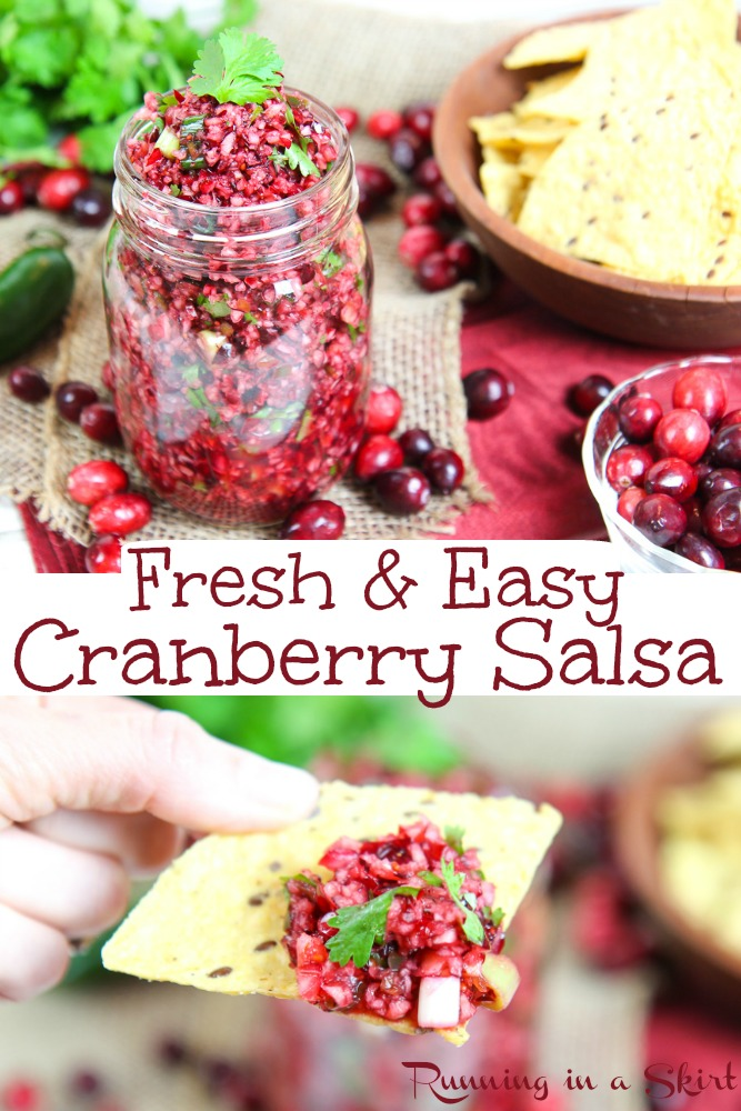 Fresh Cranberry Salsa recipe - EASY & simple dip with cilantro and jalapeno!  Can make it spicy or not.    Vegan, Vegetarian, Keto, Paleo and Gluten Free / Running in a Skirt #vegetarian #christmas #vegan #keto #recipe #salsa via @juliewunder