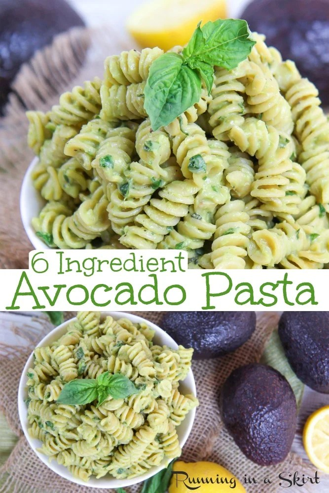 Creamy Avocado Pasta recipe - only 6 ingredients.  This healthy, vegetarian and vegan friendly dinner is easy, quick, simple and great for kids and toddler.  Can be dairy free. The avocado sauce has lemon, basil and garlic. Includes an optional parmesan topping. / Running in a Skirt #vegan #vegetarian #recipe #healthy #avocado #pasta #toddlerrecipe #easyrecipe via @juliewunder