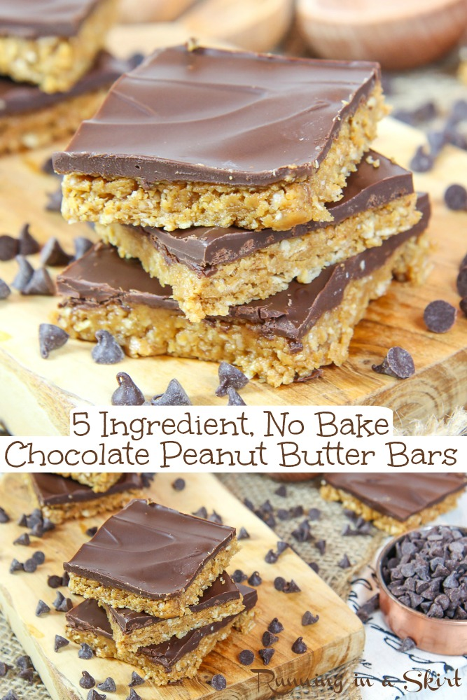 No Bake Peanut Butter Chocolate Chip Bars recipe- only 5 Ingredients including oatmeal. Easy, healthy bites with a vegan option.  Chewy, rich and delicious. The best no bake dessert. / Running in a Skirt  #nobake #peanutbutter #peanutbutterchocolate #healthy #dessert #baking via @juliewunder