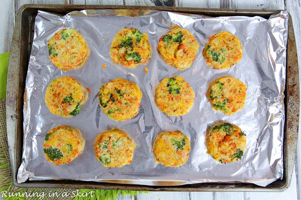 Process shot of quinoa patties baking on a tray.  Before shot.