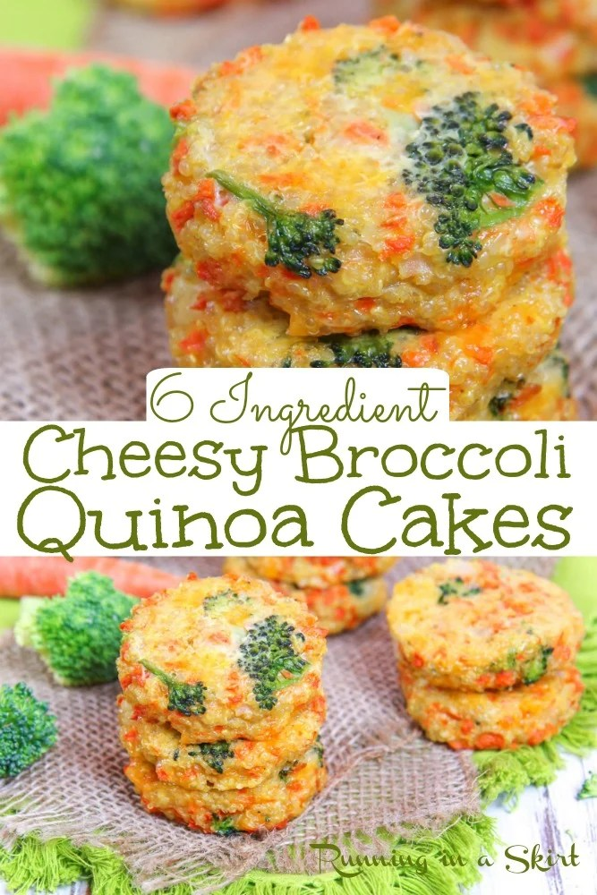 Cheesy Broccoli Quinoa Cakes recipe - only 6 Ingredients! This the best veggie quinoa patties or quinoa cakes recipe. Easy, healthy and delicious. Simple vegetarian main course recipes. / Running in a Skirt #quinoa #cheese #broccoli #healthy #vegetarian via @juliewunder