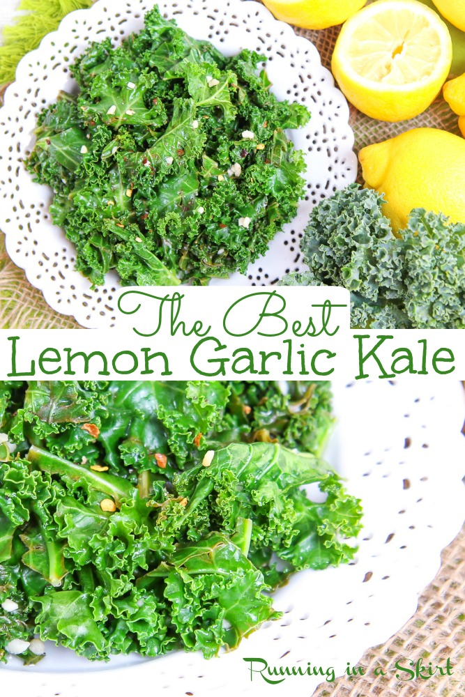 Sauteed Lemon Garlic Kale recipe- only 4 Ingredients! The best healthy recipes with kale and includes how to cook kale instructions. Easy, simple and super tasty. Vegan, vegetarian, dairy free, clean eating, whole 30, low carb / Running in a Skirt #vegan #vegetarian #healthy #whole30 #lowcarb via @juliewunder