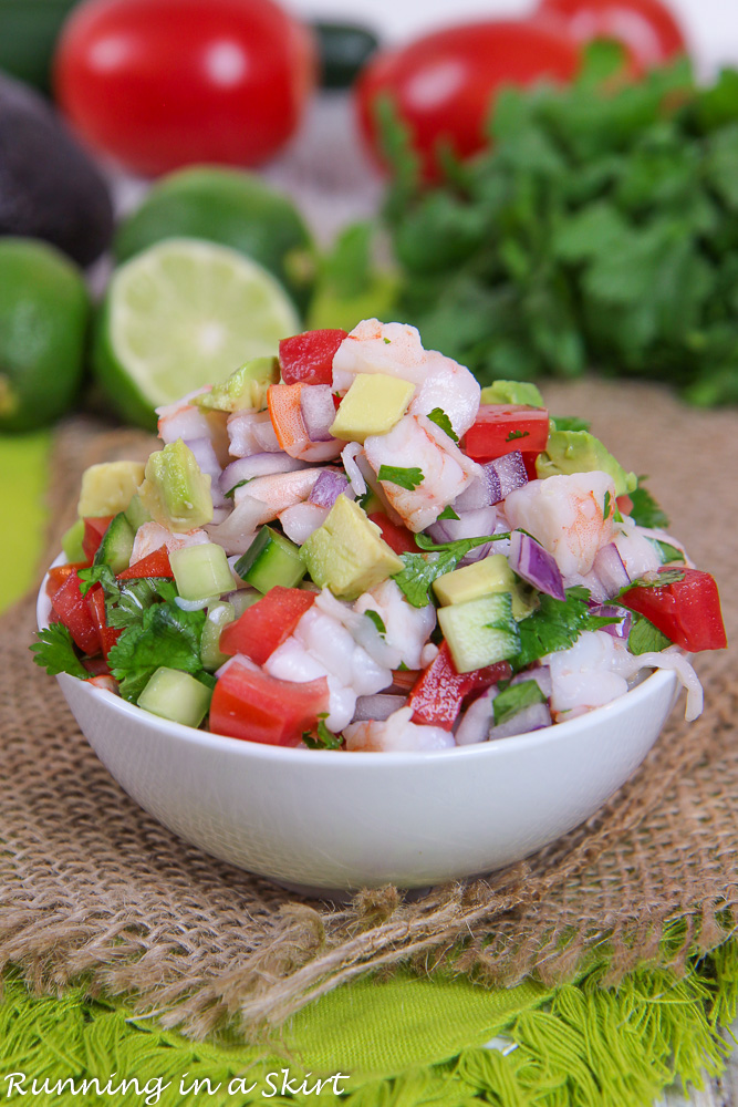 Shrimp Salsa recipe in a small bowl.