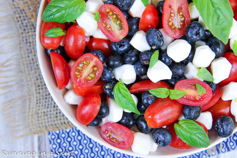 Blueberry Caprese Salad without balsamic glaze overhead shot.