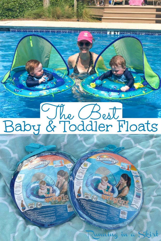 The Best Toddler and Baby Floats for the pool with canopy. Includes Infant through toddler swim ideas to keep your kids safe and happy in the water. / Running in a Skirt #twin #baby #toddler #parenting #pool via @juliewunder