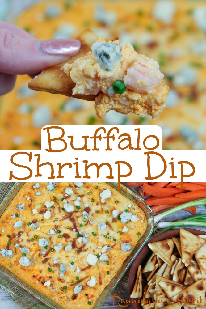 Healthy Buffalo Shrimp Dip - Easy and cheesy but also Skinny Shrimp Dip baked to hot and spicy perfection with blue cheese, cream cheese and greek yogurt not sour cream. This is THE BEST Buffalo Shrimp Dip. / Running in a Skirt #pescatarian #shrimp #dip #buffalo #healthy via @juliewunder
