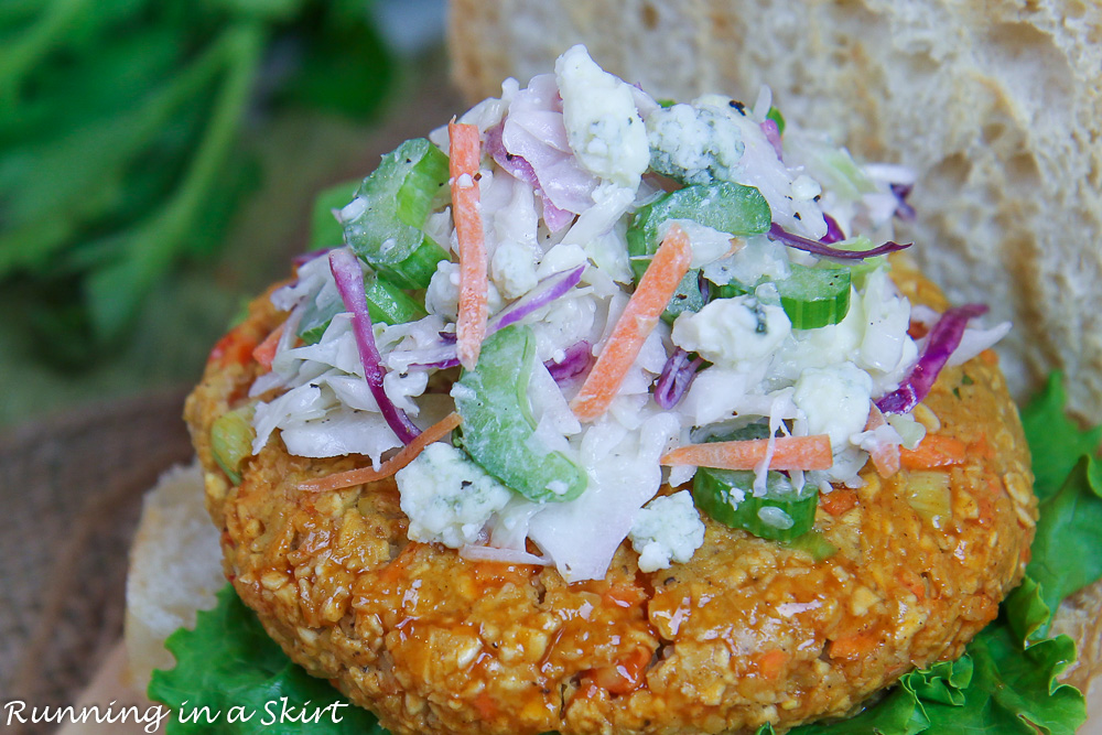 Close up of blue cheese coleslaw.