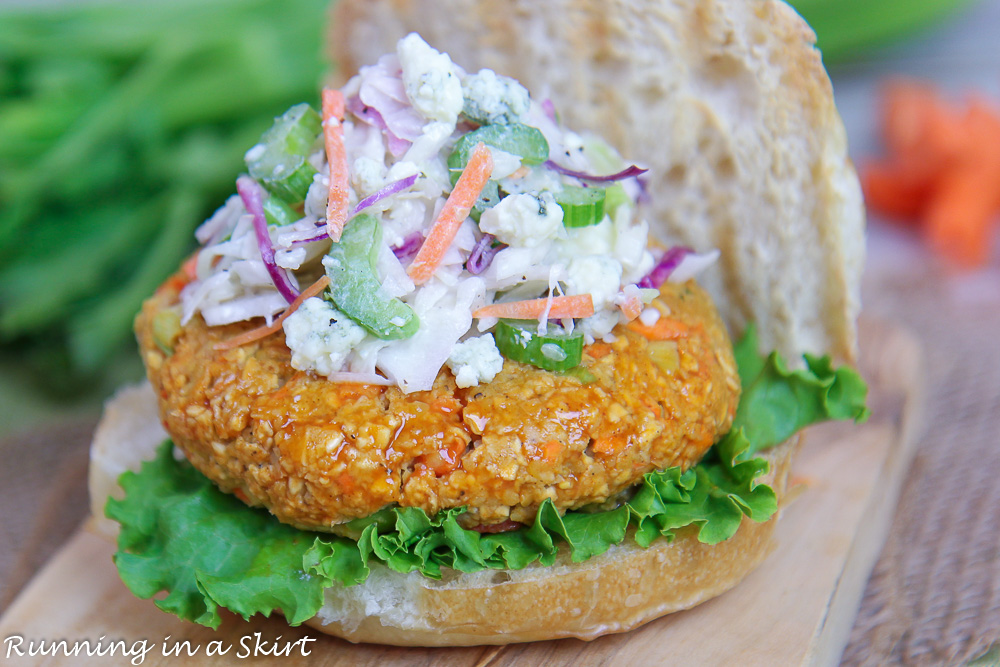 Chickpea Burger with bun, lettuce and coleslaw.