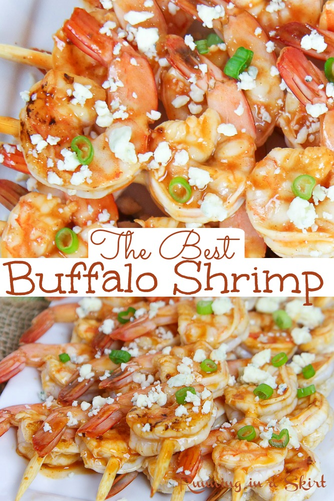 The Best Buffalo Shrimp recipe - healthy Buffalo Shrimp Skewers with blue cheese dip. Only 4 Ingredients! Includes how to make directions for Grilled Buffalo Shrimp or baked. Pescatarian, low carb and gluten free. / Running in a Skirt #lowcarb #glutenfree #pescatarian #healthy #recipe #buffalo via @juliewunder