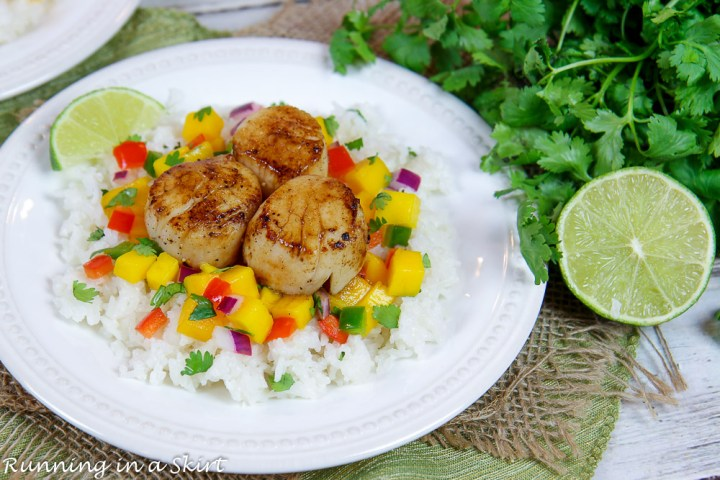 Pan Seared Scallops recipe on a plate with mango salsa.
