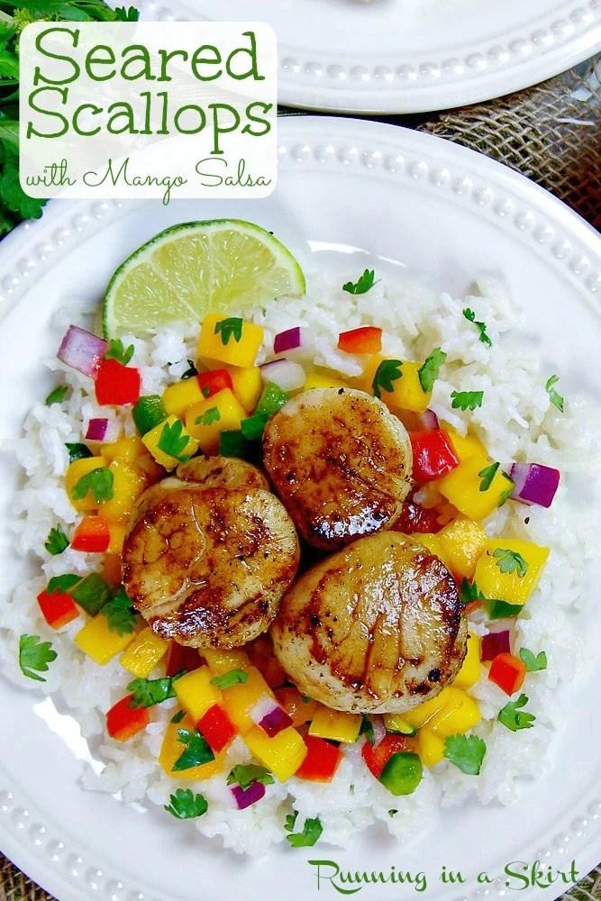 Seared Scallops with Mango Salsa pinterest pin