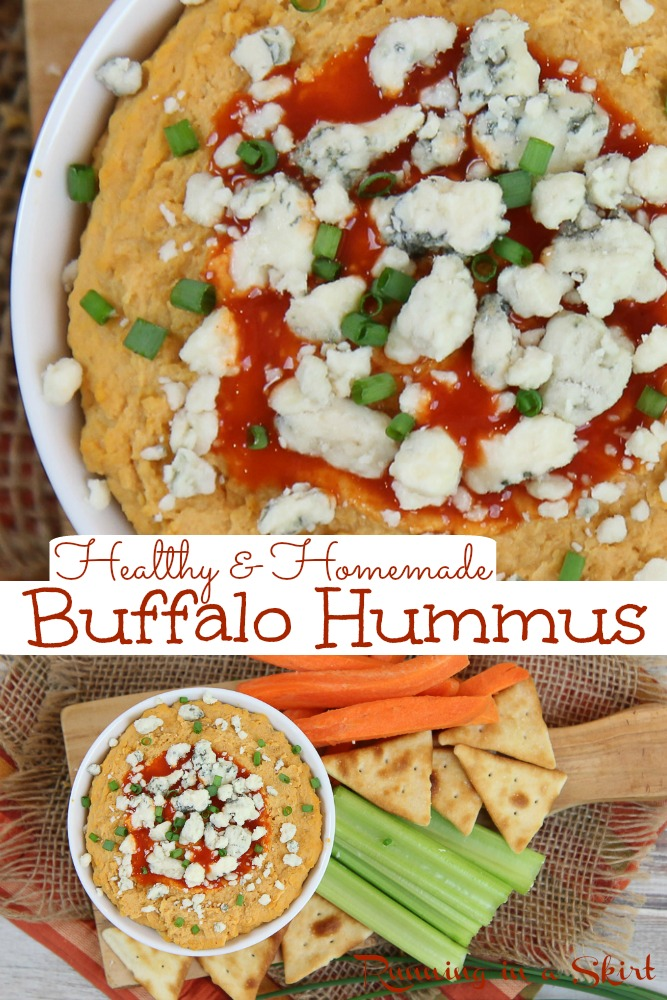 Buffalo Hummus recipe - homemade & healthy! Can be made without tahini and includes notes to make it vegan. This easy spicy dip is creamy and similar to Trader Joes version. Vegetarian, Vegan, Gluten Free/ Running in a Skirt #vegan #vegetarian #recipe #healthy #hummus via @juliewunder