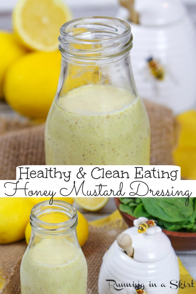 Healthy Honey Mustard Salad Dressing recipe- clean eating and fat free! This homemade creamy dressing is the best healthy salad dressing made with greek yogurt. So easy... made in one bowl in less than 5 minutes. Vegetarian & recipe includes options to make it vegan. / Running in a Skirt #saladdressing #vegetarian #vegan #greekyogurt #healthyliving #honeymustard via @juliewunder