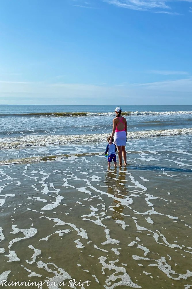 Mom with toddler on the beach on Kiawah Island SC