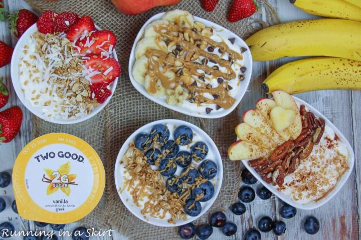 Greek yogurt bowl ideas with four greek yogurt bowls on a napkin with fruit.