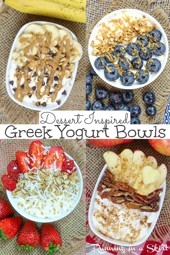 Healthy Greek Yogurt Bowls Ideas for Breakfast - dessert inspired but still good for you. Low calorie, low carb and low sugar options like Chunky Monkey, Strawberry Shortcake, Apple Pie and Blueberry Muffin featuring vanilla greek yogurt and toppings like banana, peanut butter, fruit and granola. Perfect for a snack too. / Running in a Skirt #Ad @walmart @twogoodyogurt #yogurtbowls #healthyliving #lowcarb #lowsugar #healthy via @juliewunder
