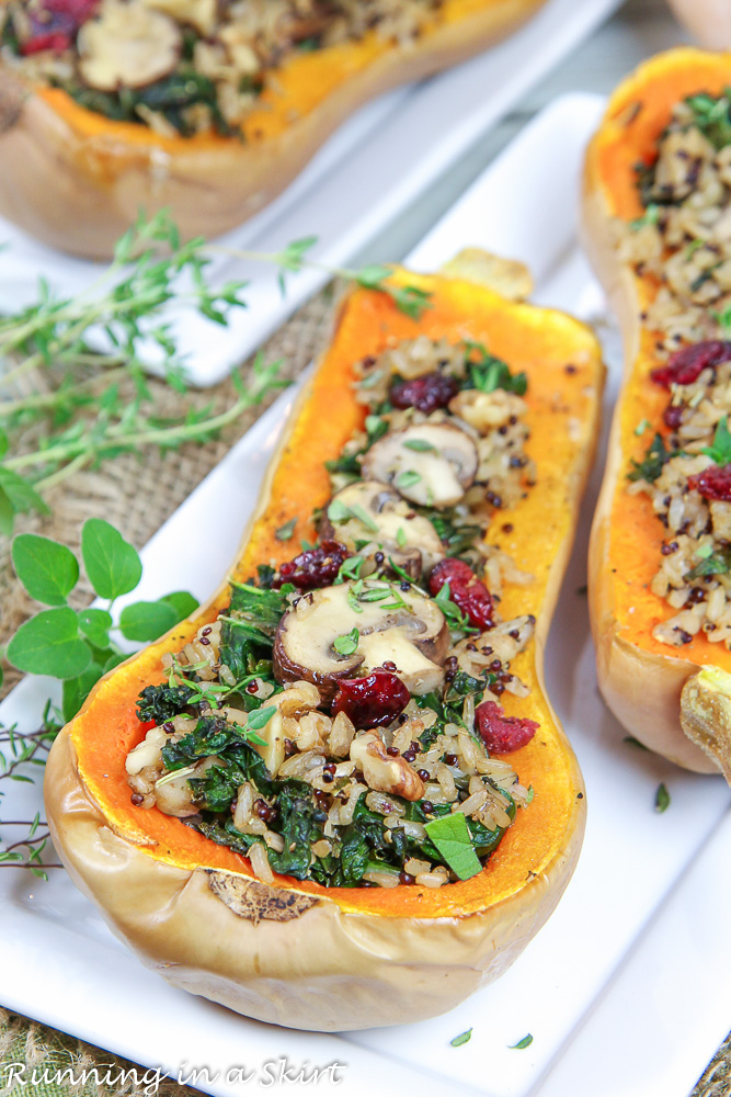 Side angle of finished Vegan Stuffed Butternut Squash.
