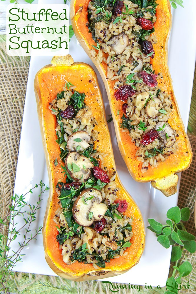 Vegan Stuffed Butternut Squash pinterest pin