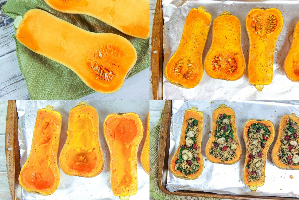 Process collage showing how to make the stuffed butternut squash.