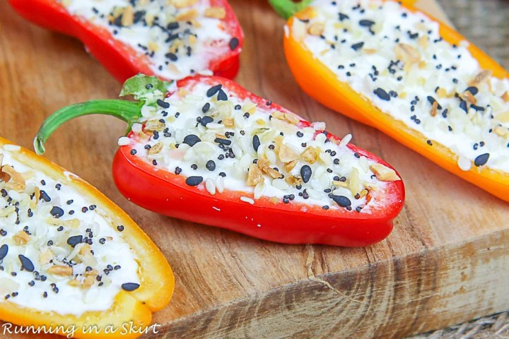 Close up of Cream Cheese Stuffed Mini Pepper with everything bagel seasoning on top.