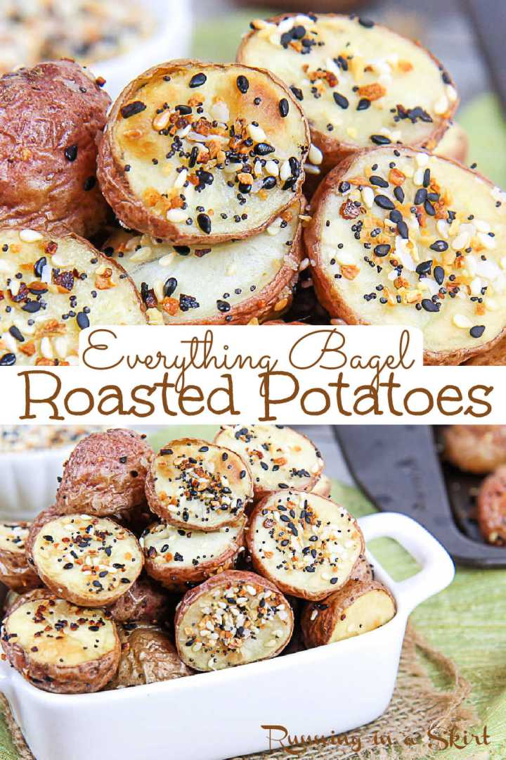 Everything Bagel Roasted Potatoes - Best Everything Bagel Seasoning Potato recipe and use for Everything But the Bagel Seasoning from Trader Joe's. This healthy, clean eating & simple THREE ingredient recipe is the perfect healthy side dish for fish or chicken. Uses red potatoes but you can substitute whatever type of potato you have including sweet potato. Vegan, Vegetarian, Dairy Free, Whole 30 & Gluten Free / Running in a Skirt #everythingbutthebagel #everythingbagelseasoning #traderjoes via @juliewunder